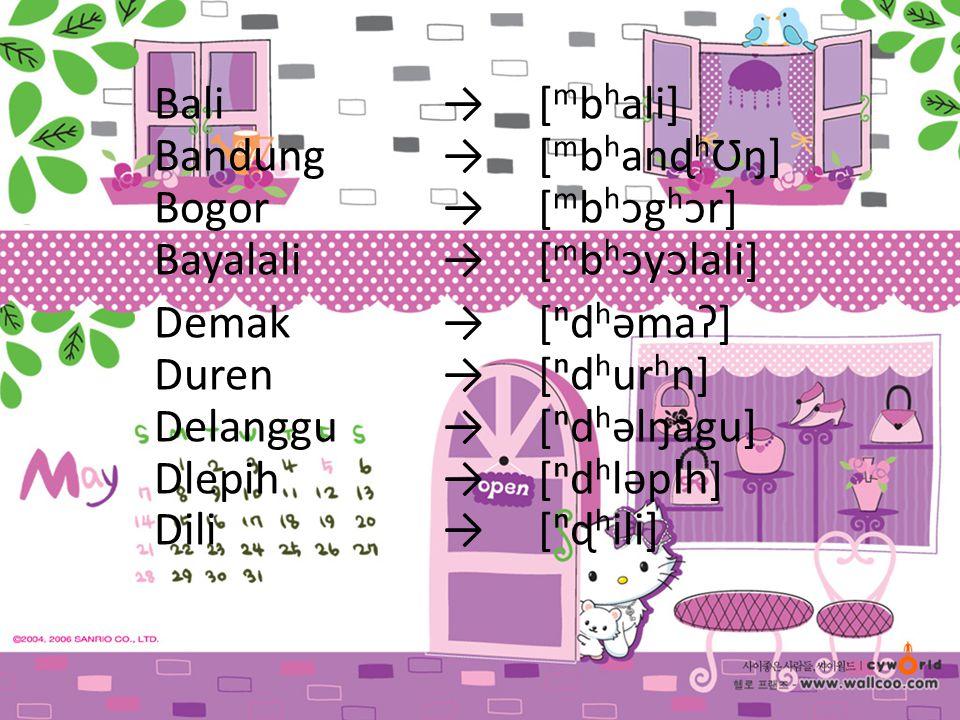 Bali. →. [mbhali]. Bandung. →. [mbhanɖhƱŋ]. Bogor. →. [mbhᴐghᴐr]